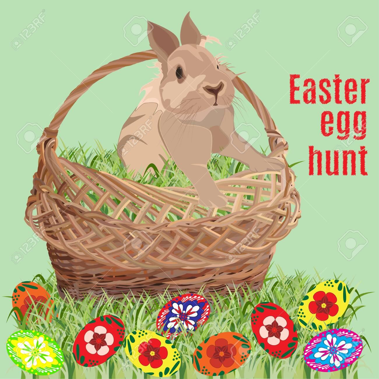 Easter egg hunt poster banner template, vector illustration - 124430700
