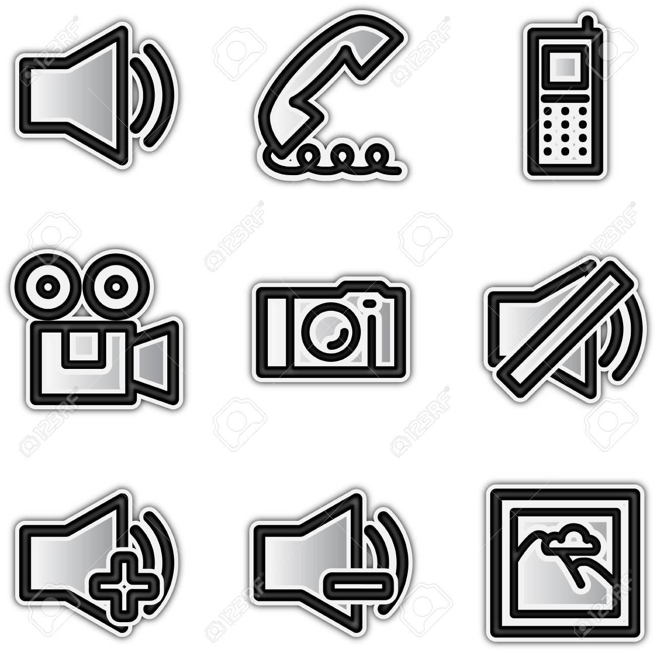 Web icons silver contour media Stock Vector - 10364174