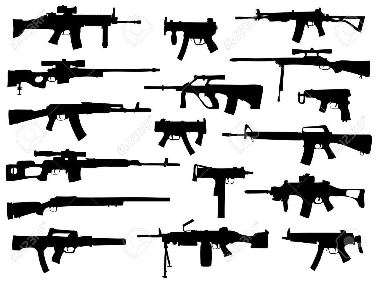Weapon collection, automatic guns Stock Vector - 10364166