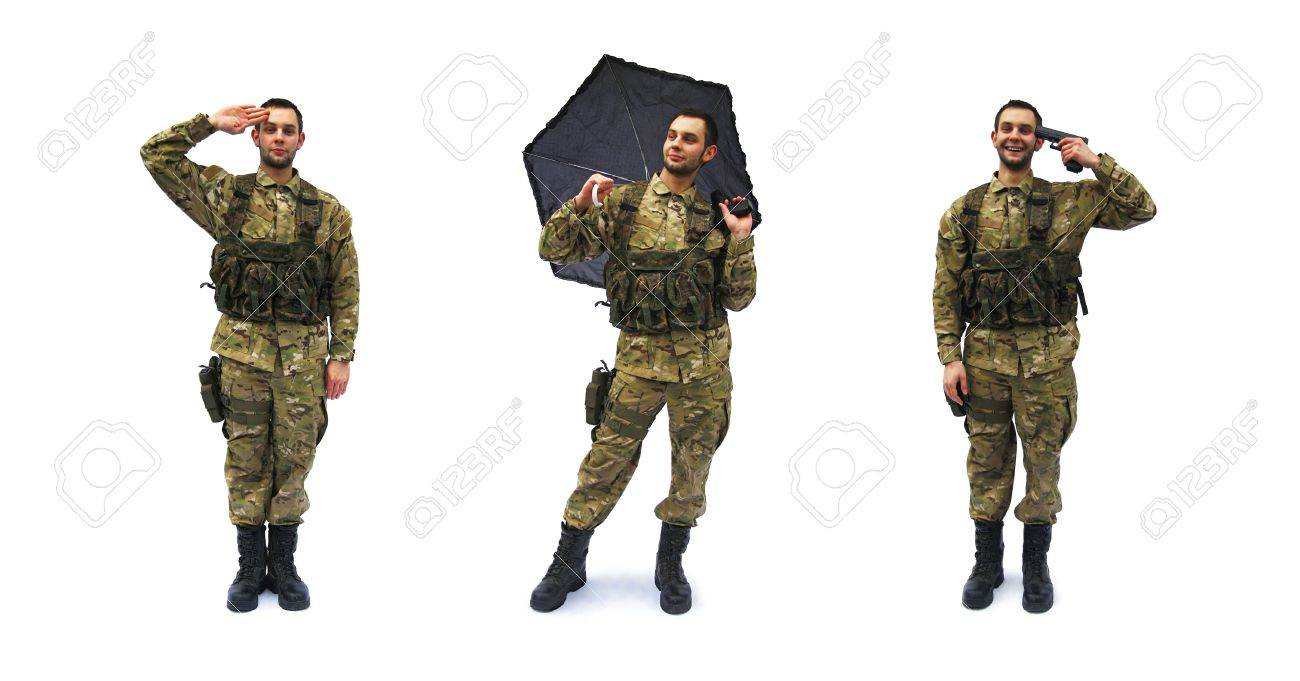 salute and crazy soldier white background Stock Photo - 10376539