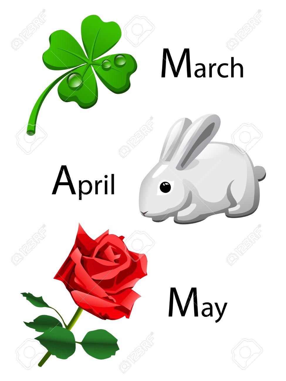 spring calendar - march, april, may Stock Vector - 10385859