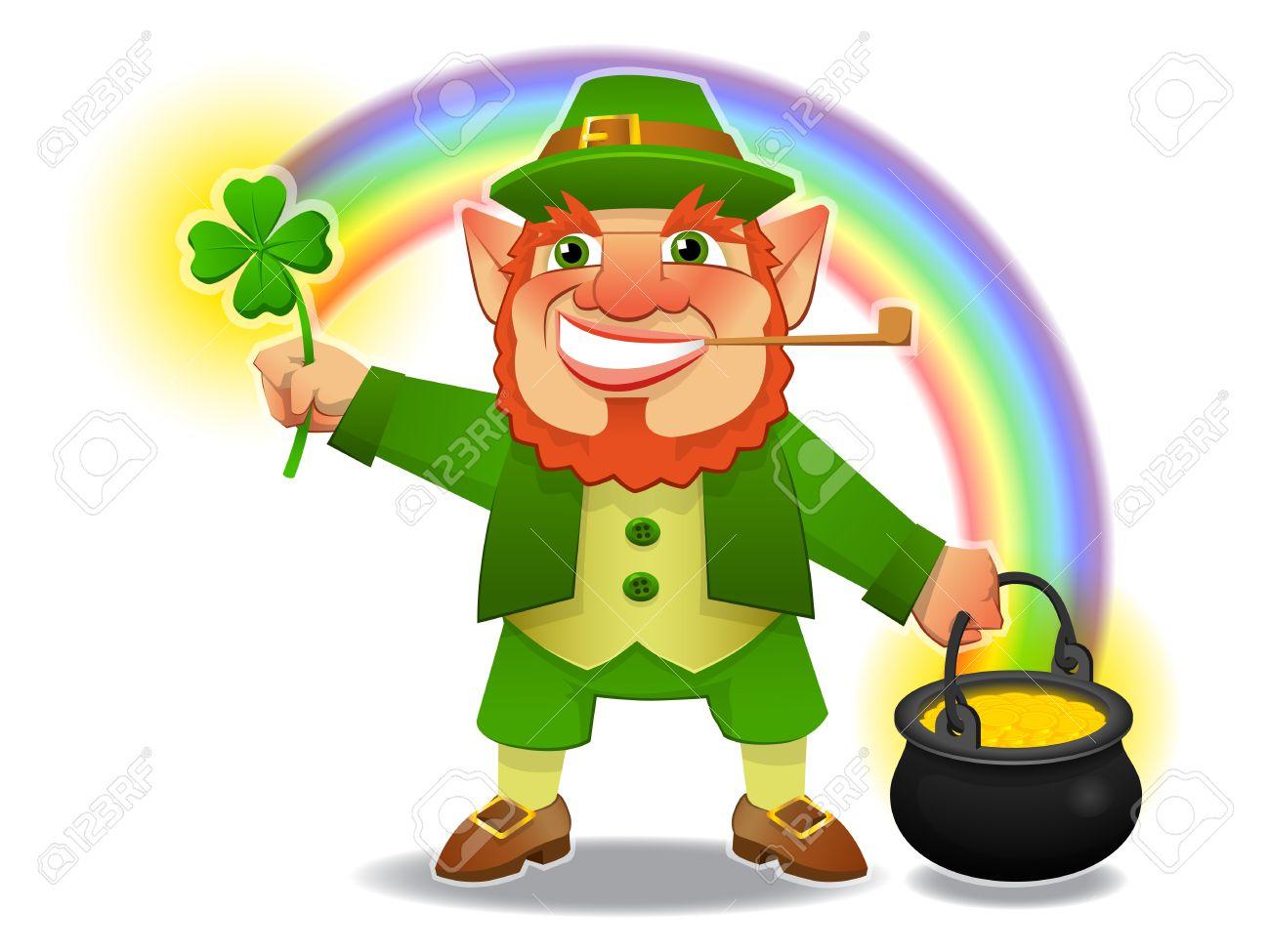 Uncategorized Are Leprechauns Irish lucky leprechaun with shamrock and treasure royalty free cliparts stock vector 10711921