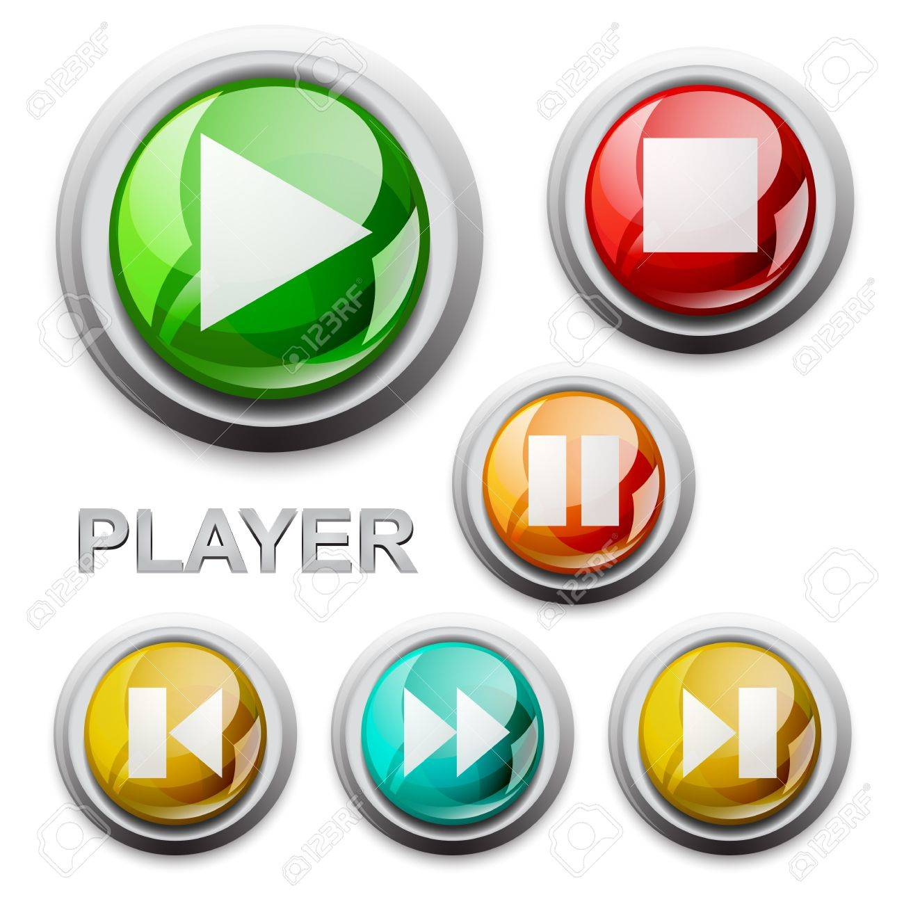 vector modern glossy icons, player Stock Vector - 11561854