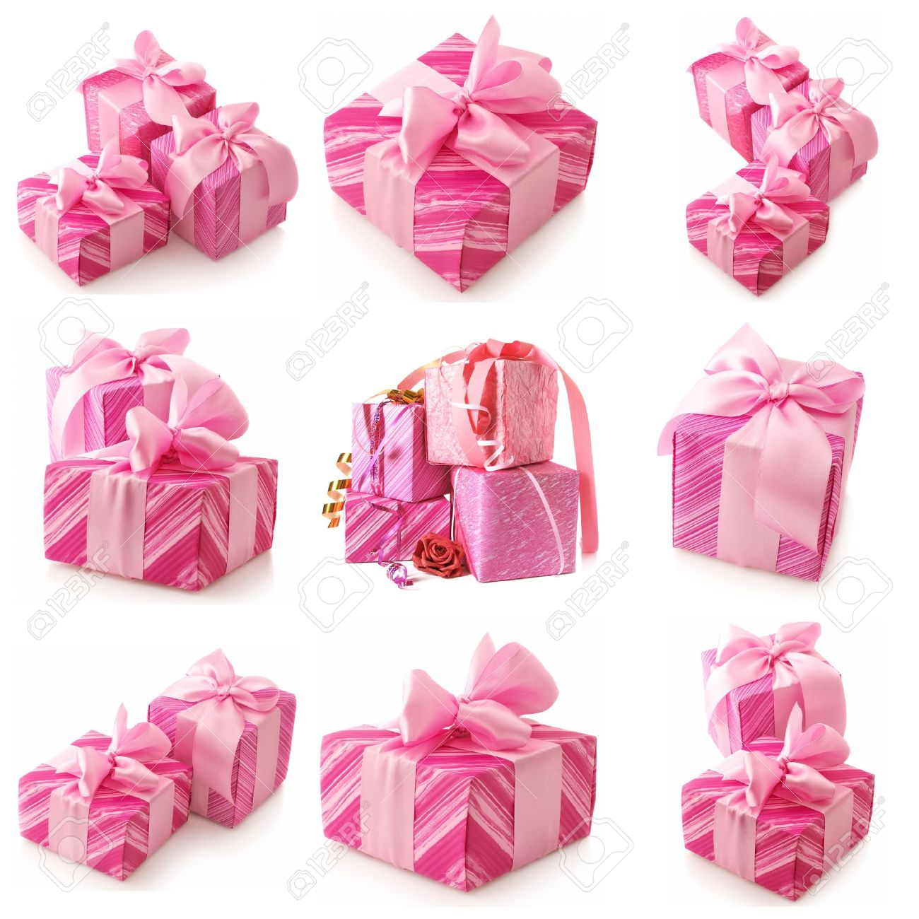 Nine images of pink gifts isolated on white background. Stock Photo - 8138603