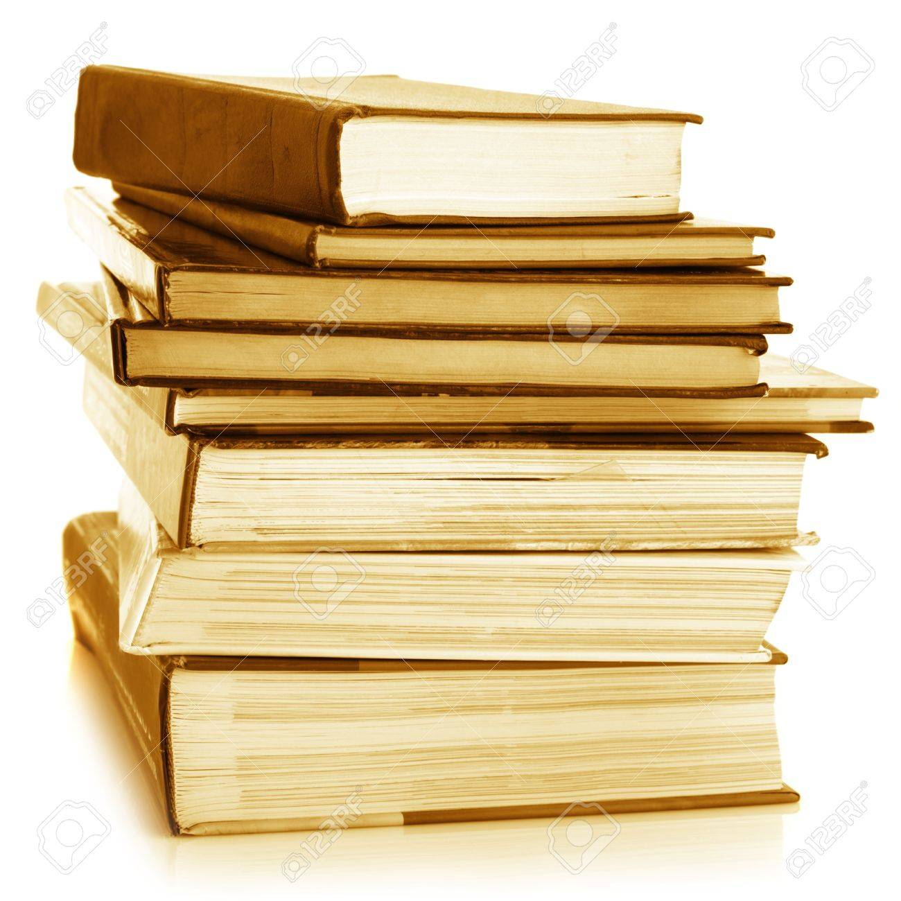 Stack of various books isolated on white background. Toned image. Stock Photo - 9099177