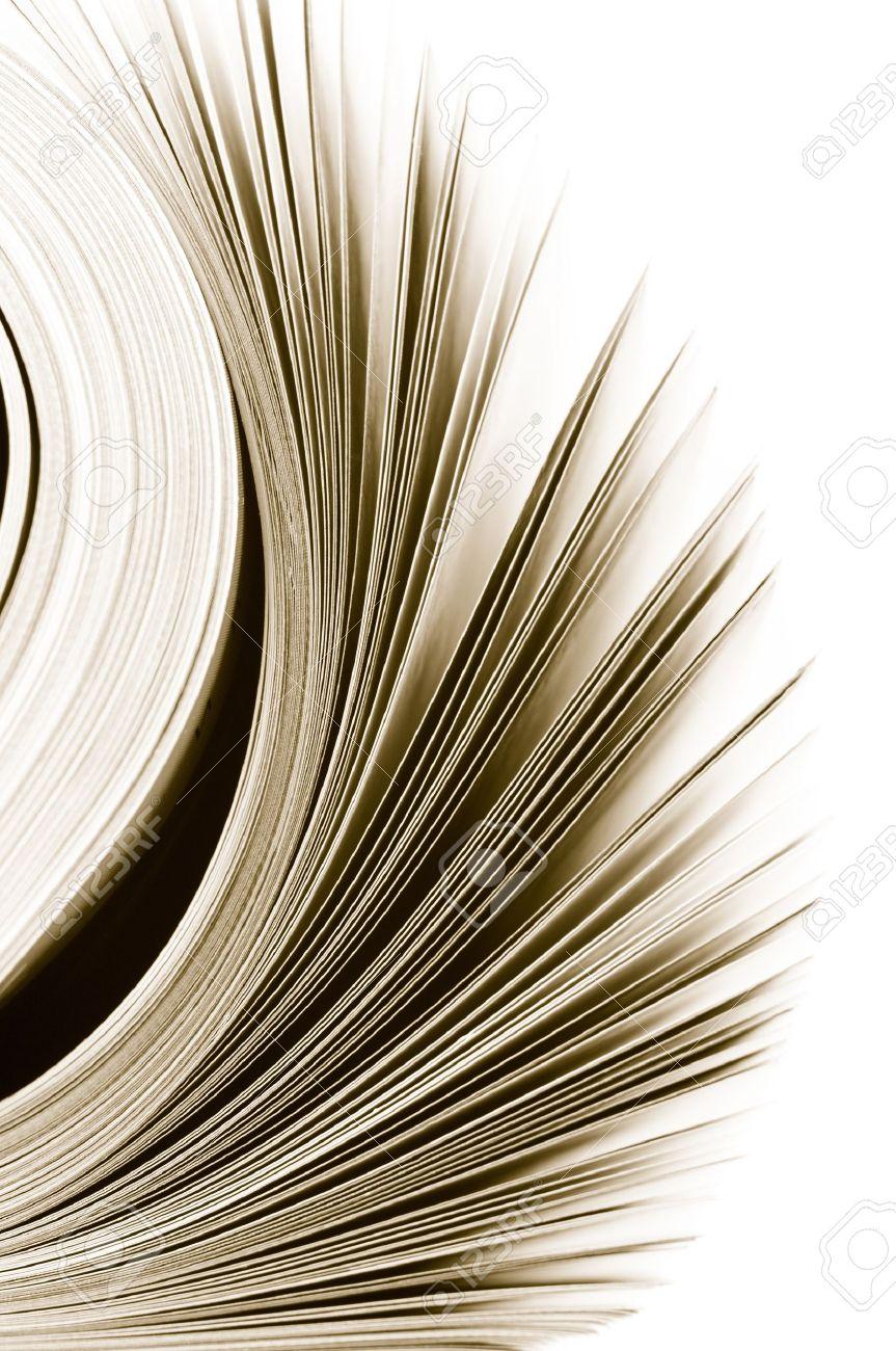 Close-up of magazine pages on white background. Toned monochrome image. Shallow DOF, focus on edges. Stock Photo - 9294607