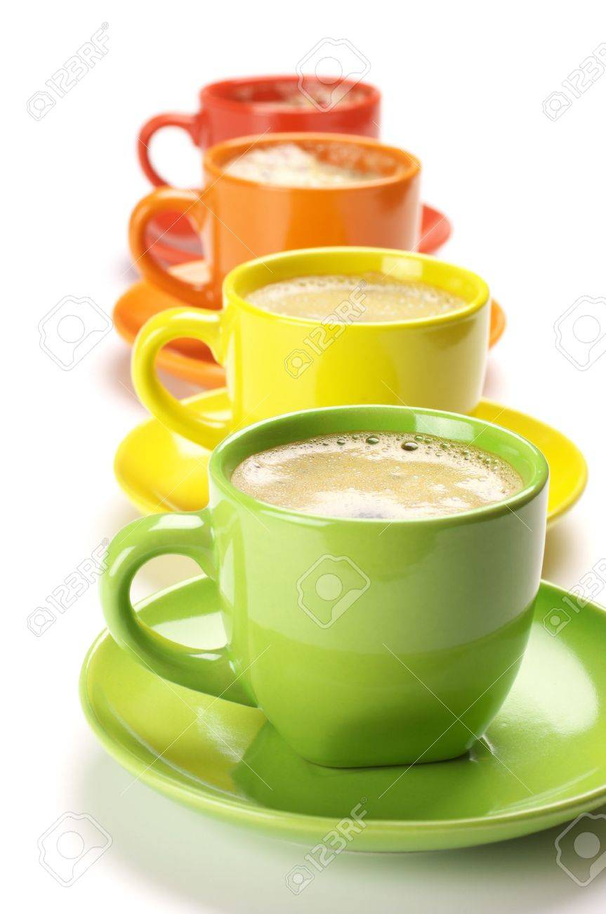 Four colorful cups with fresh coffee on white background. Stock Photo - 9413875