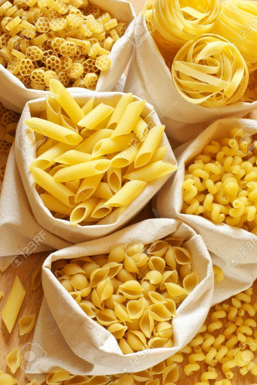 Close-up of assorted pasta in jute bags. Stock Photo - 9450763