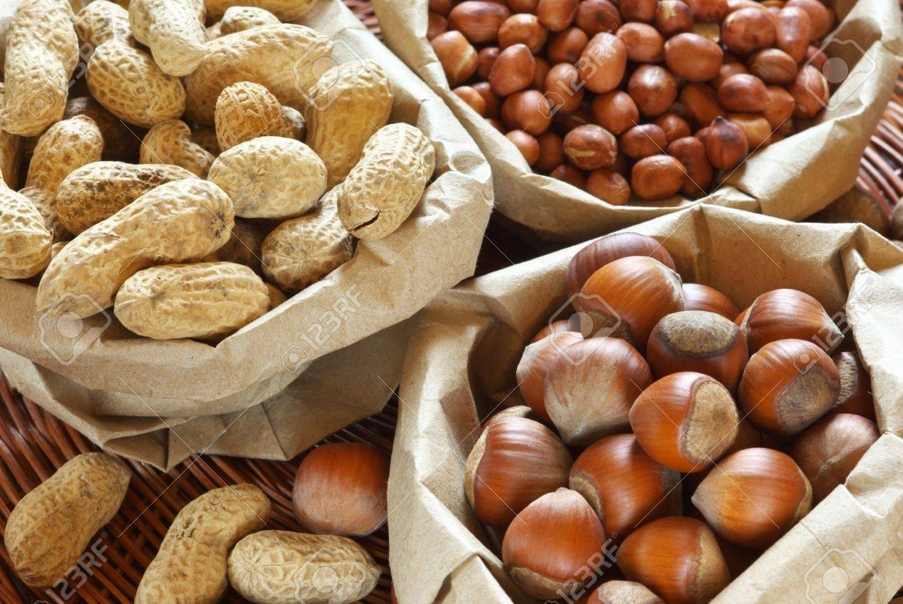 Close-up of assorted nuts in paper bags. Stock Photo - 9950409
