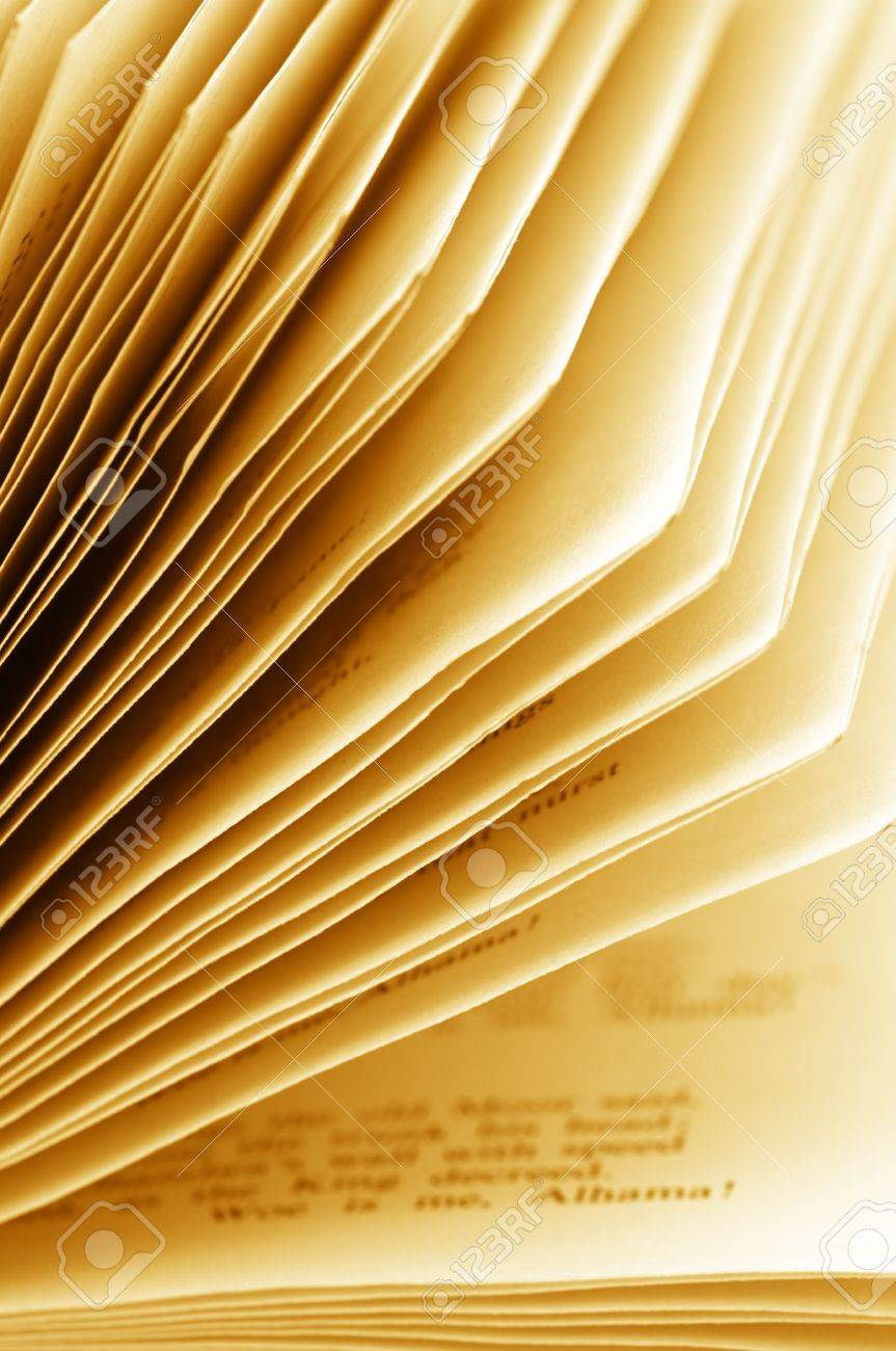 Close-up of open book. Shallow DOF. Monochrome toned image. Stock Photo - 10418509