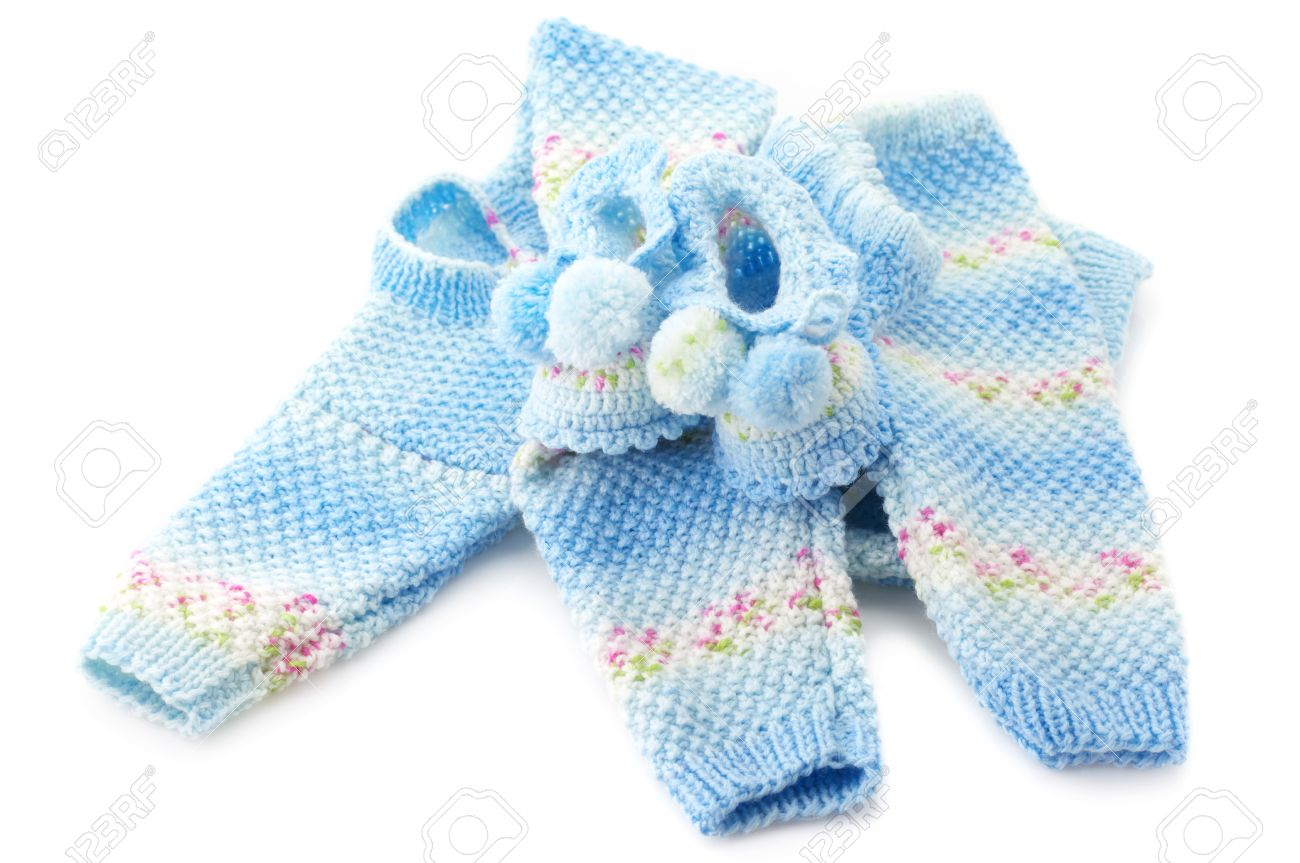 e27e22d11 Handmade Baby s Knitted Clothes Isolated On White Background. Stock ...