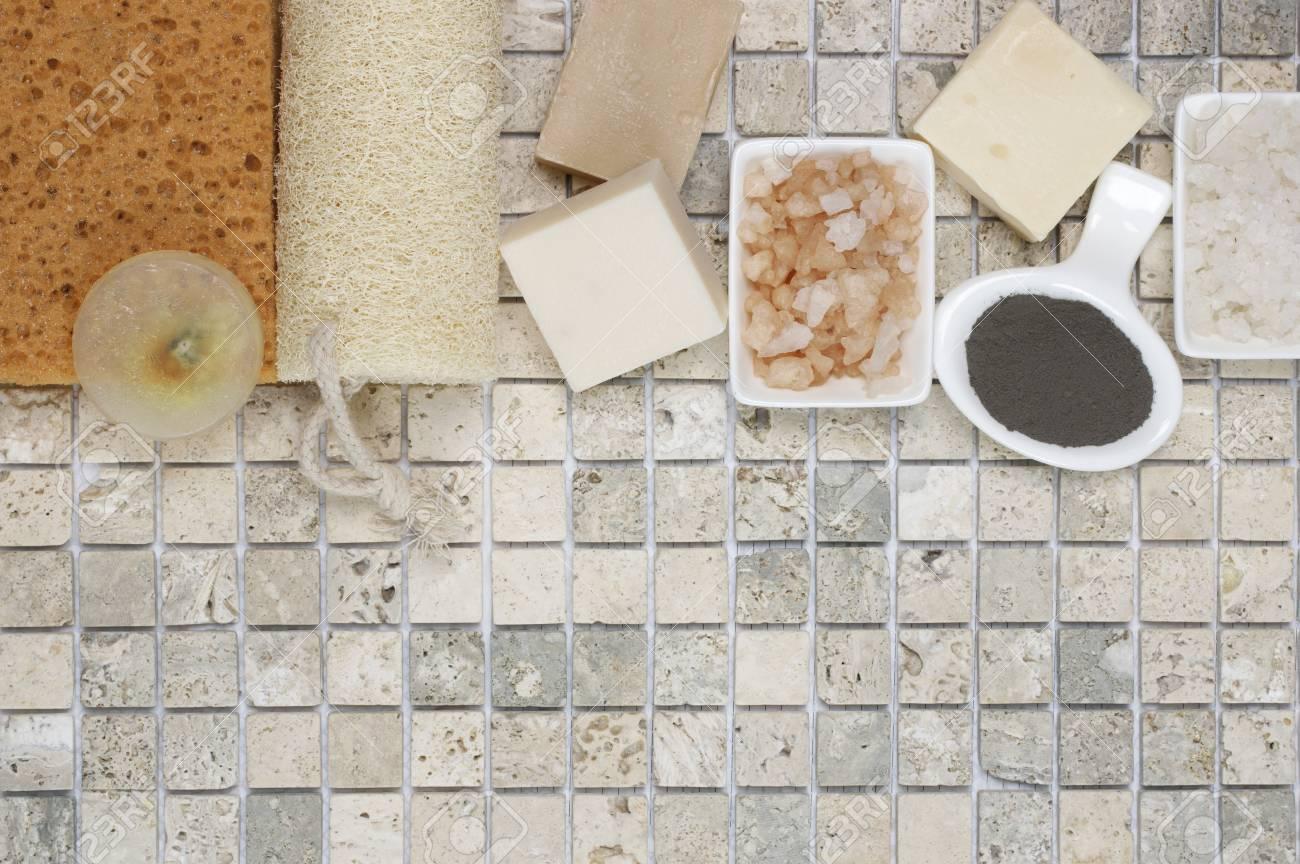 Set Of Bathroom Accessory On Stone Tile: Soaps, Bath Salt, Clay ...