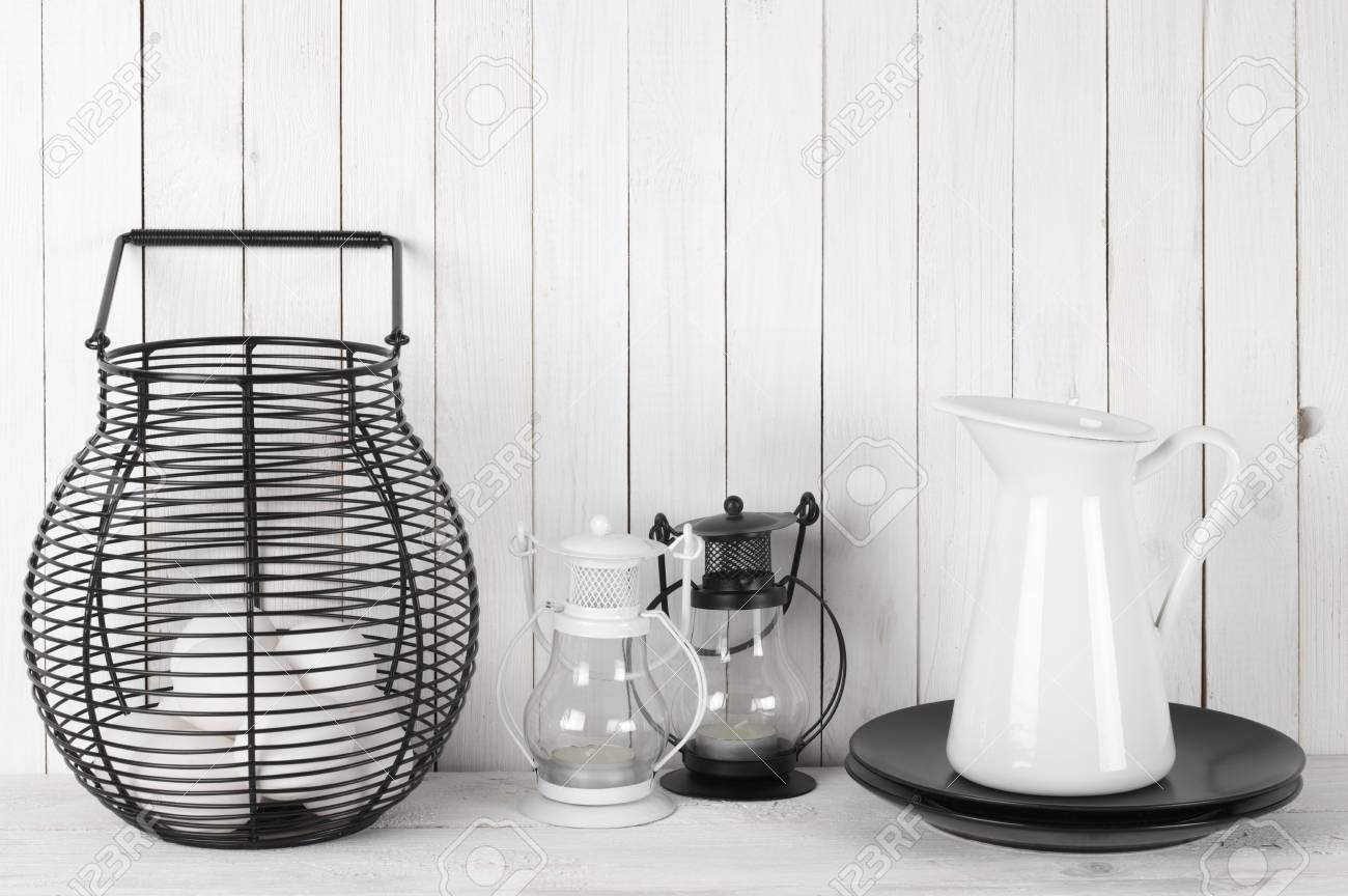 Rustic Still Life In White And Black Colors: Wire Basket With ...