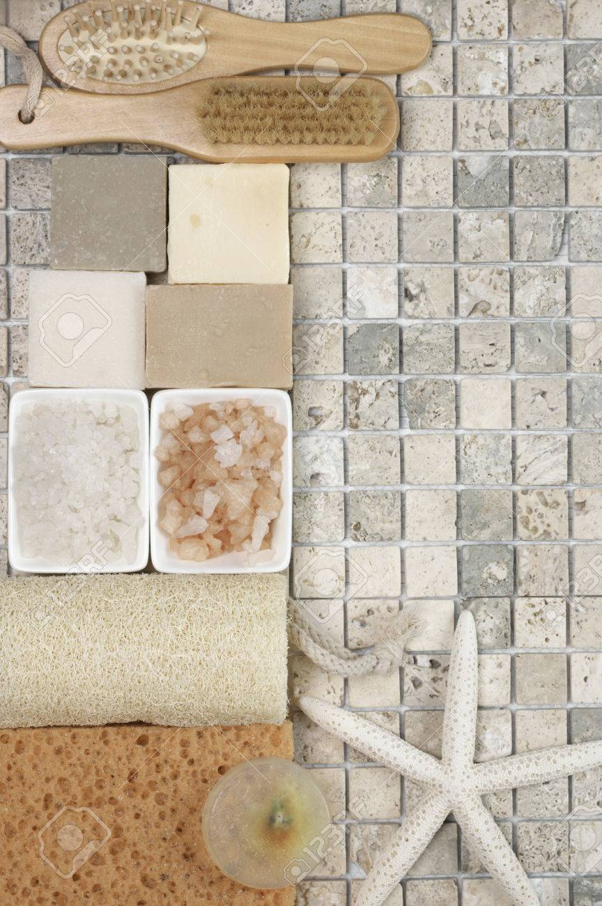 Set Of Bathroom Accessory On Stone Tile: Soaps, Bath Salt, Sponges ...