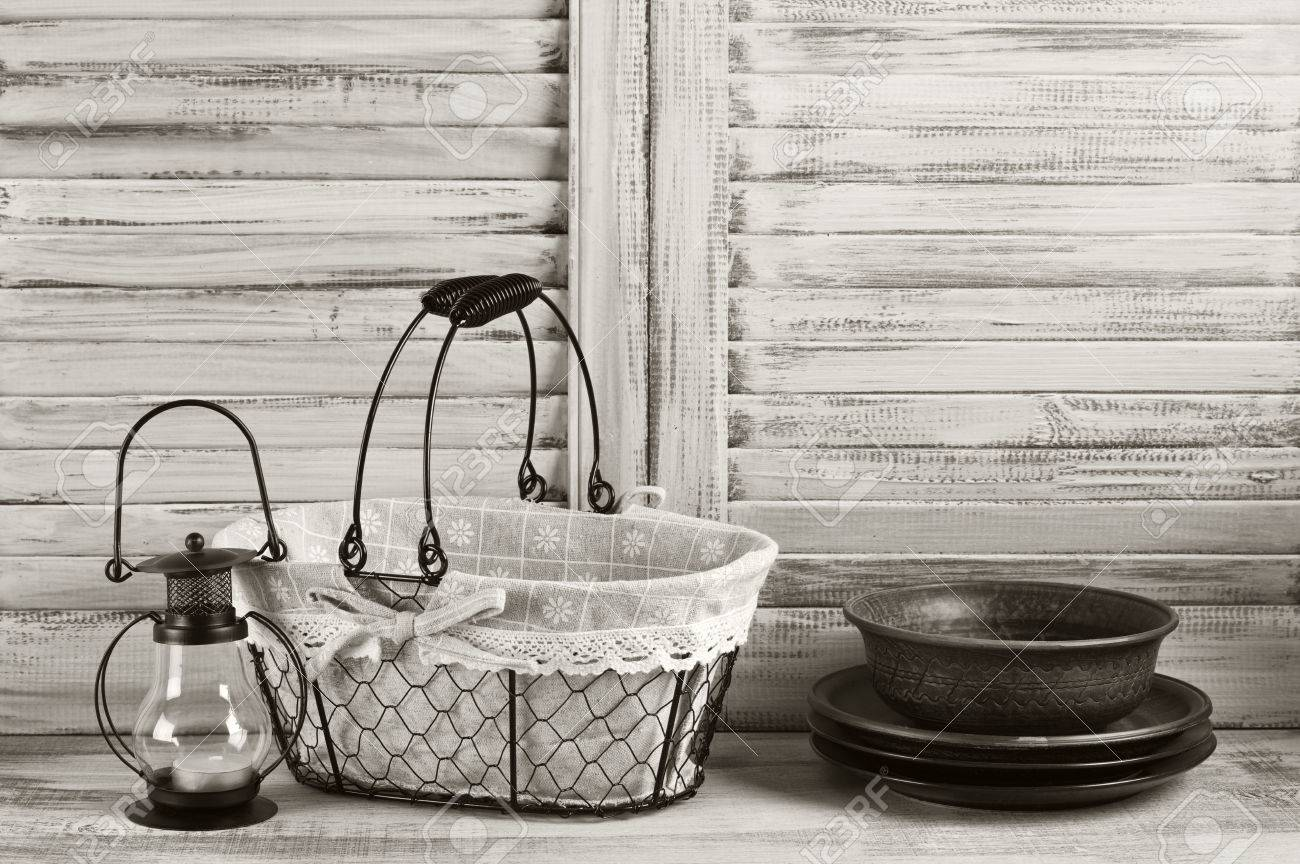 Rustic Kitchen Still Life: Wire Basket, Ceramic Dishware And.. Stock ...