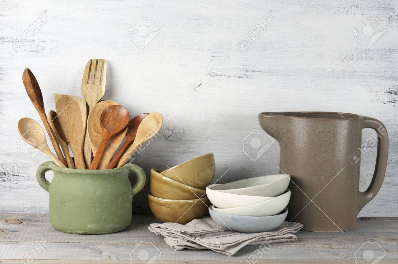 Simple Rustic Kitchenware Against White Wooden Wall: Rough Ceramic ...