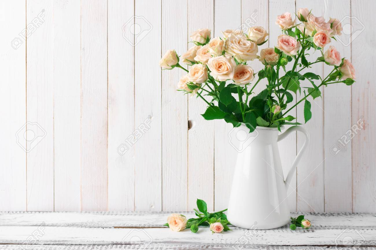 Light Pink Roses Bouquet In Jug Against White Rustic Wooden Wall Stock Photo Picture And Royalty Free Image Image 59842827