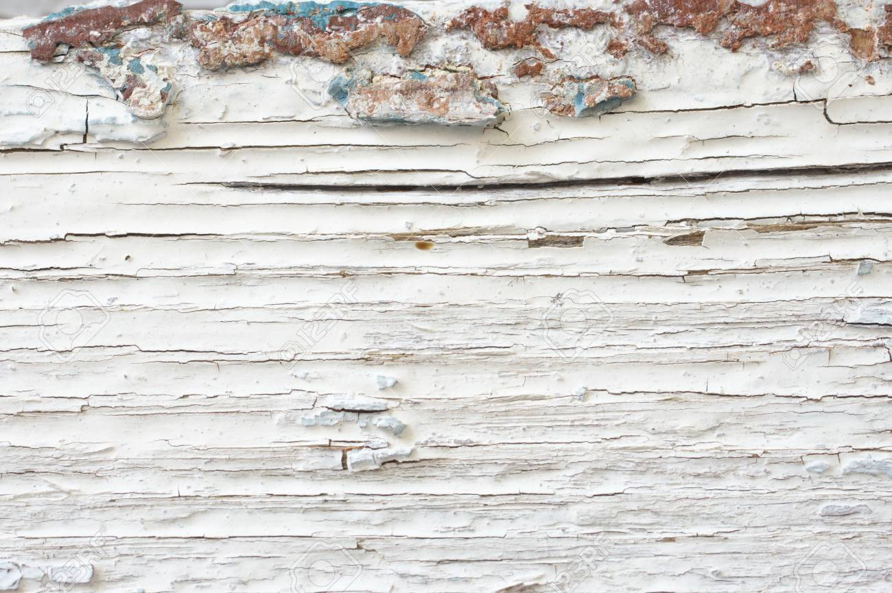 Extreme Distressed White Painted Wood Texture Close Up As Background Stock Photo