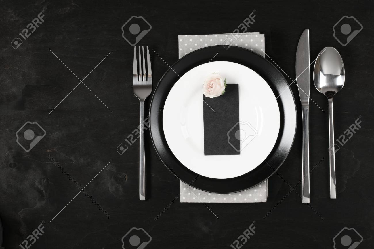 Elegant Black And White Table Setting Plates Gray Polka Dot Stock Photo Picture And Royalty Free Image Image 84607750,Good Plants For Office Spaces