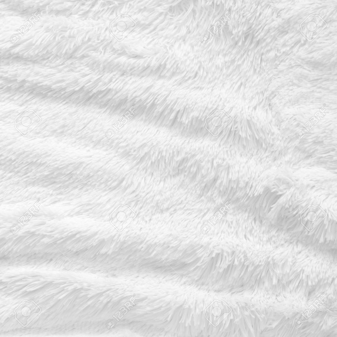 Beautiful White Shaggy Blanket Texture As Background. Fluffy Fake Textile  VO94