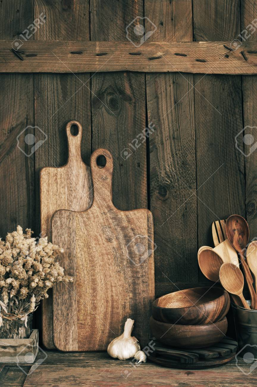 Wood Bowls Cutting Boards And Other Utensils On Wooden Shelf Stock Photo Picture And Royalty Free Image Image 108293606