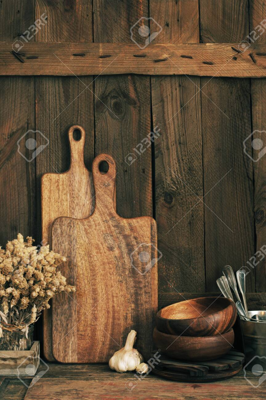 Wood Bowls Cutting Boards And Other Utensils On Wooden Shelf Stock Photo Picture And Royalty Free Image Image 128970142