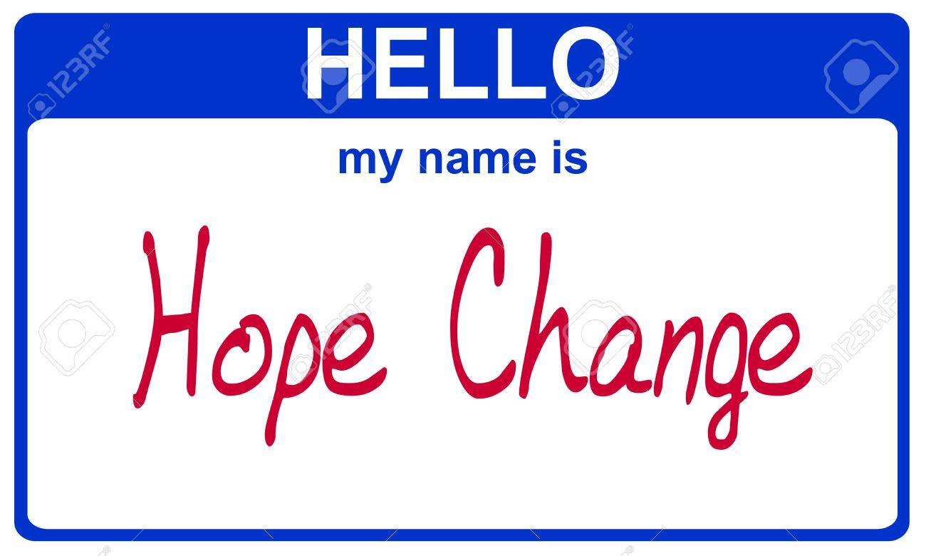 hello my name is hope change blue sticker Stock Photo - 4690646