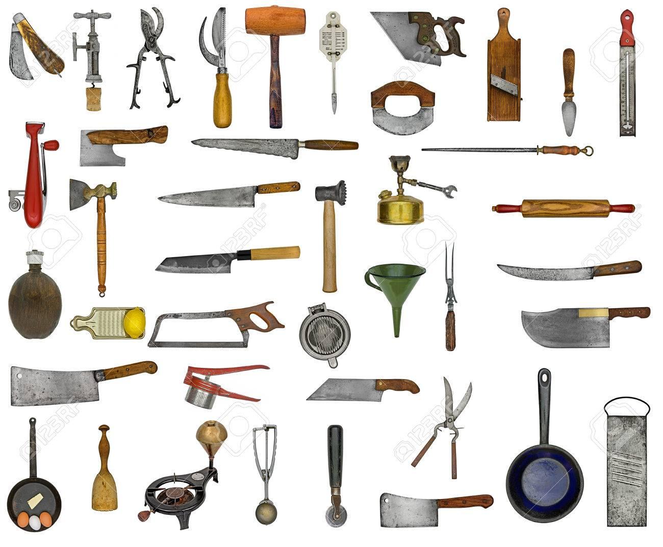 vintage kitchen utensils collage over white