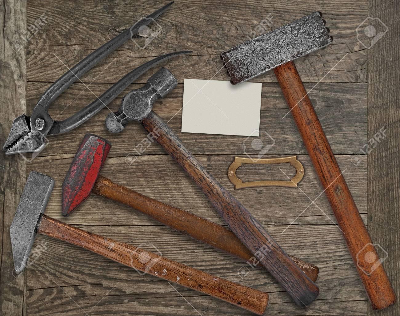 Forgeron Ou Metallerie Outils Millesime Plus De Banc Bois Plaque Vierge Et Carte Visite Pour Votre Texte