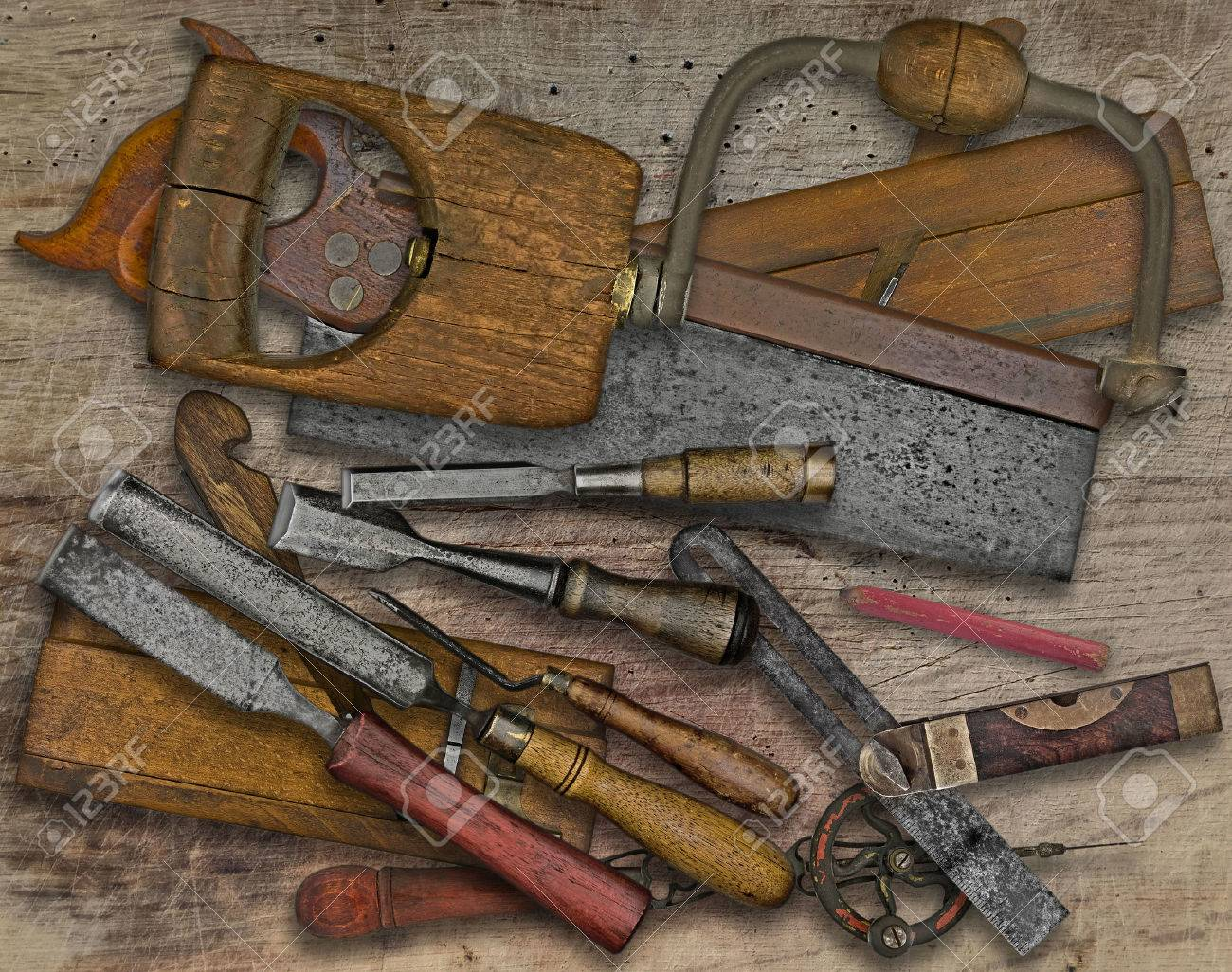 Vintage Woodworking Tools Over Wooden Bench Stock Photo Picture And Royalty Free Image Image 56593760