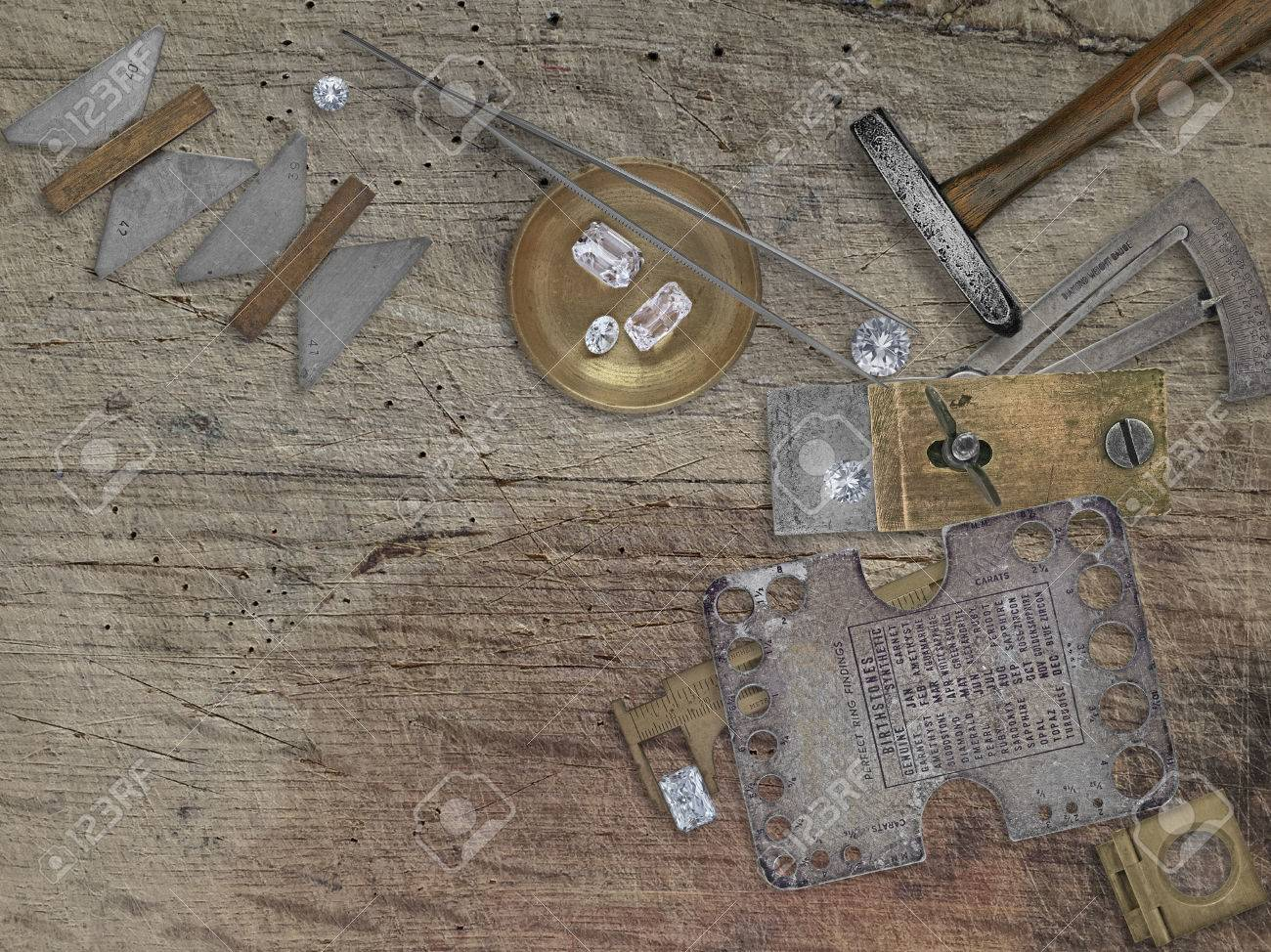 Remarkable Vintage Jeweler Tools And Diamonds Over Wooden Bench Space For Creativecarmelina Interior Chair Design Creativecarmelinacom