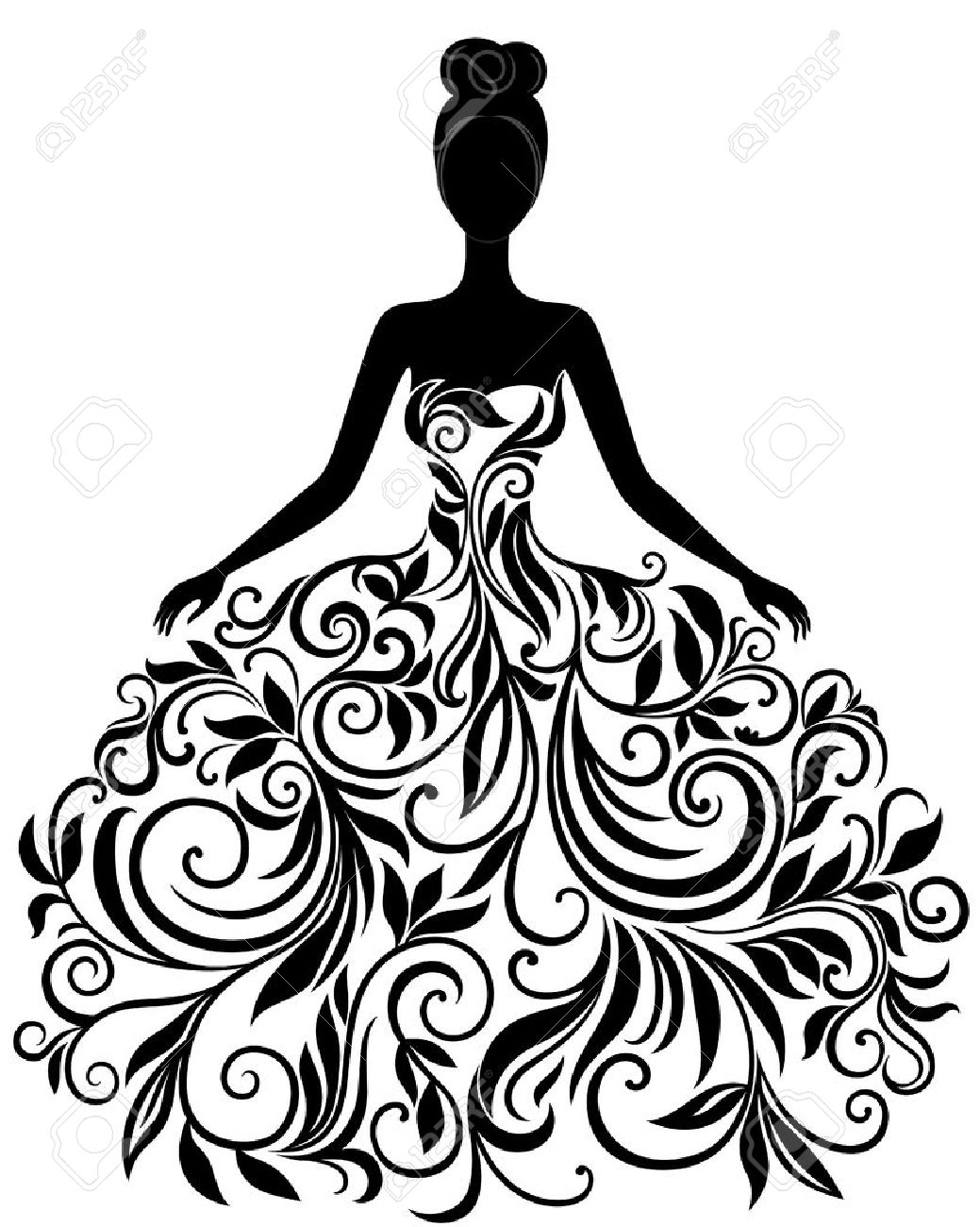 Vector Silhouette Of Young Woman In Elegant Wedding Dress Royalty ...