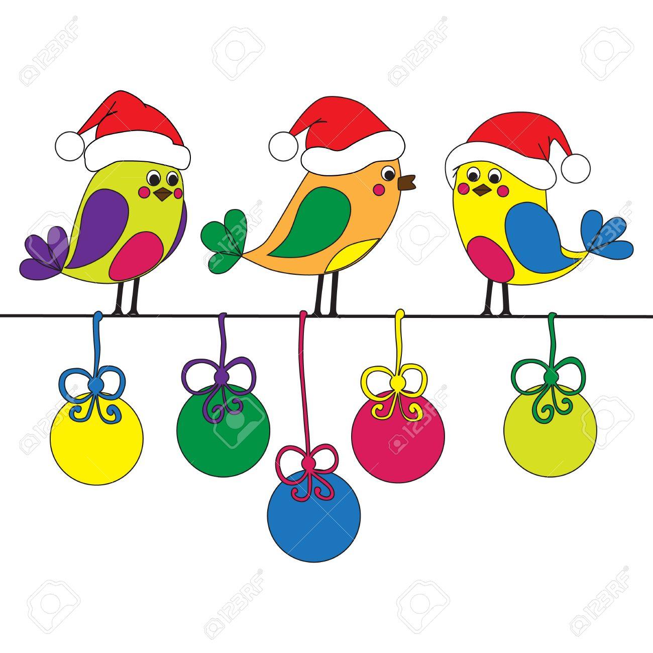 Hand-drawn funny christmas birds Stock Vector - 17072766