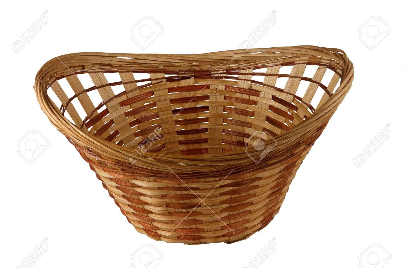 banque dimages panier dcoratif tiss partir de paille et de copeaux de bois de couleur brun objet isol sur un fond blanc - Copeaux De Bois Colors