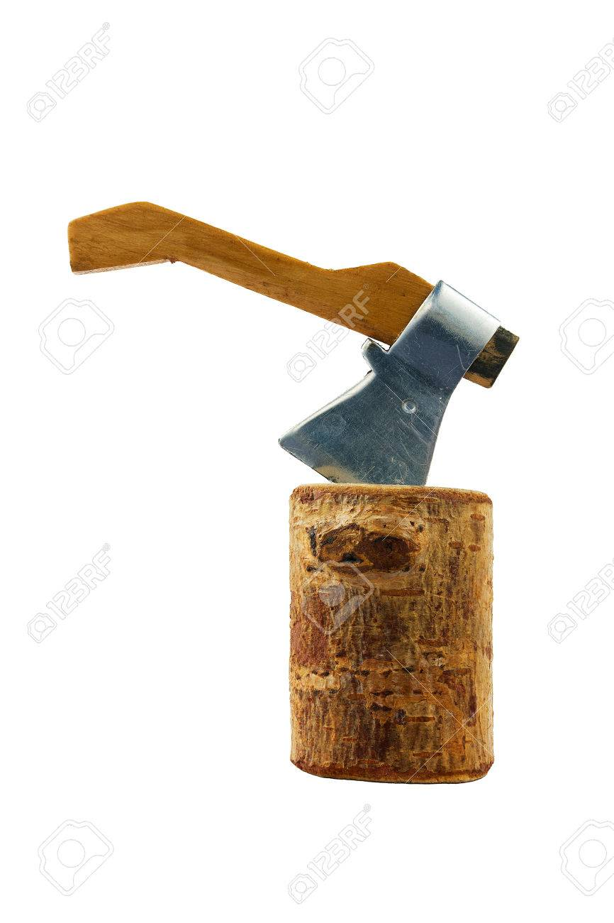 Souvenir In The Form Of An Axe Chopping Wood Stump Don Stock Photo