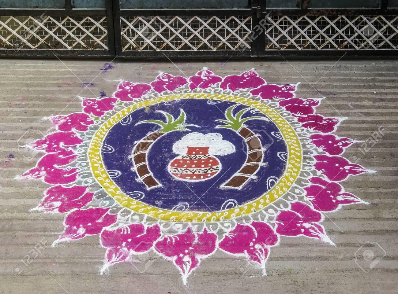 Colorful figure-prayer painted around the front door. Festival rangoli. India Stock Photo & Colorful Figure-prayer Painted Around The Front Door. Festival ...