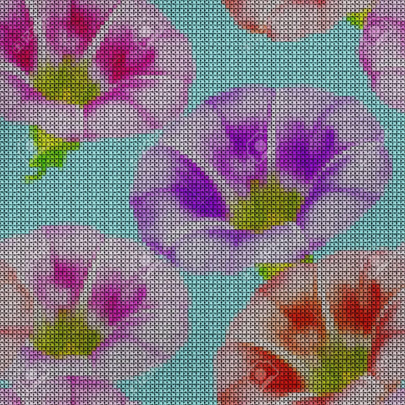 Ilustración Punto De Cruz Correhuela Más Grande Textura De Flores Patrón Sin Fisuras Para La Replicación Continua Fondo Floral Collage