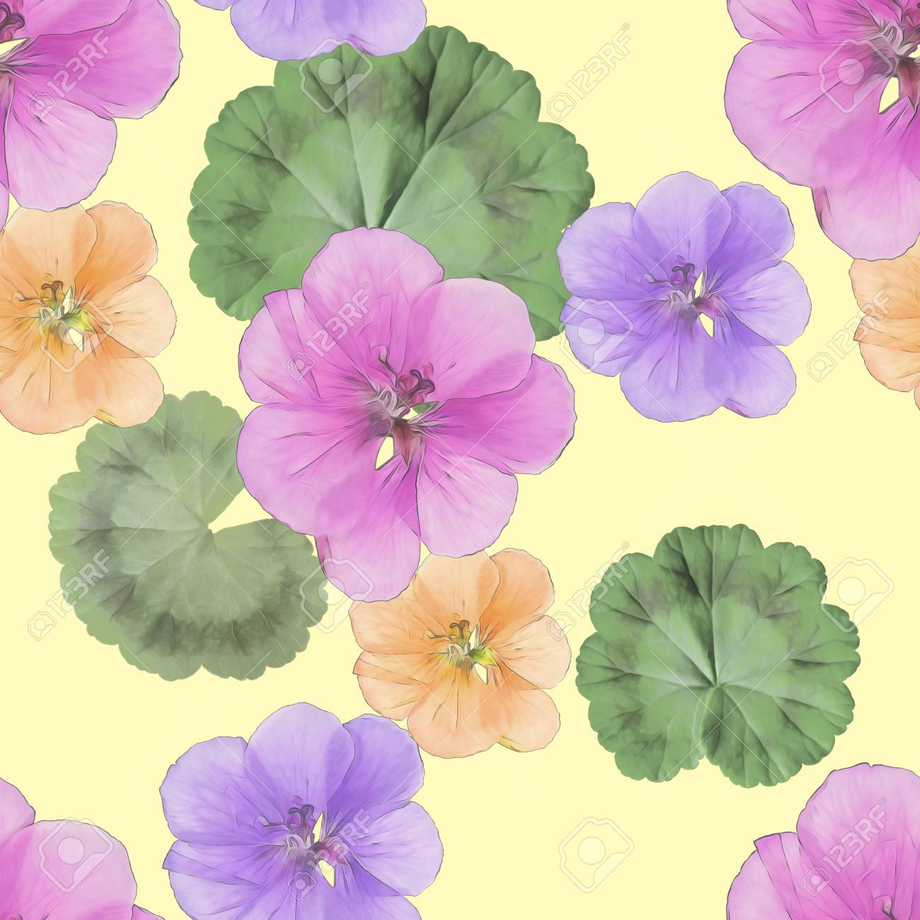 Geranium Pelargonium Texture Of Flowers Seamless Pattern For