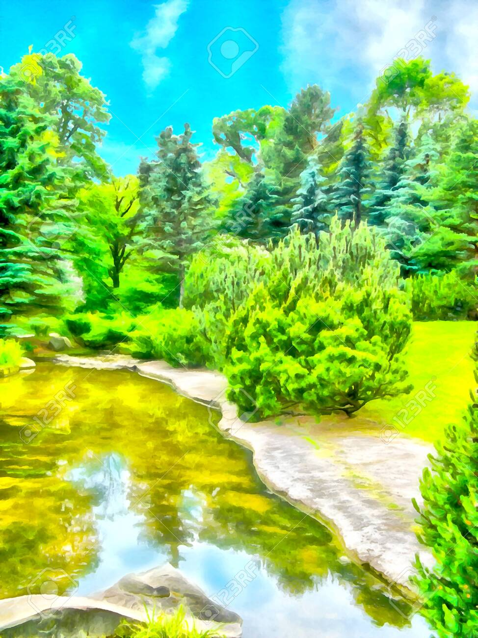 abstract watercolor landscape park with a lake and forest the stock photo picture and royalty free image image 121607056 123rf com
