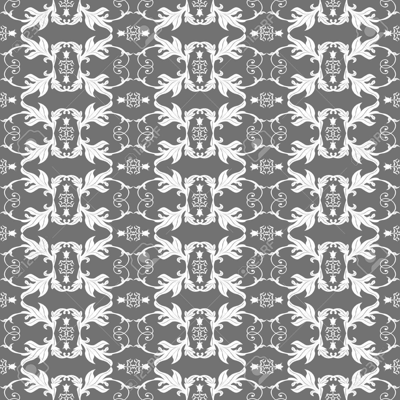 Modern Stylish Geometric Gray And White Floral Flower Pattern