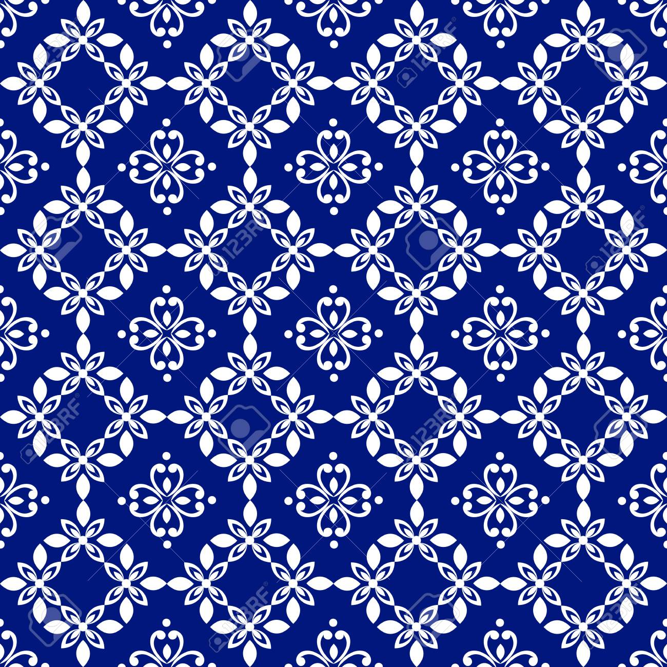 Wallpaper Baroque Damask White And Blue Floral Pattern Vintage