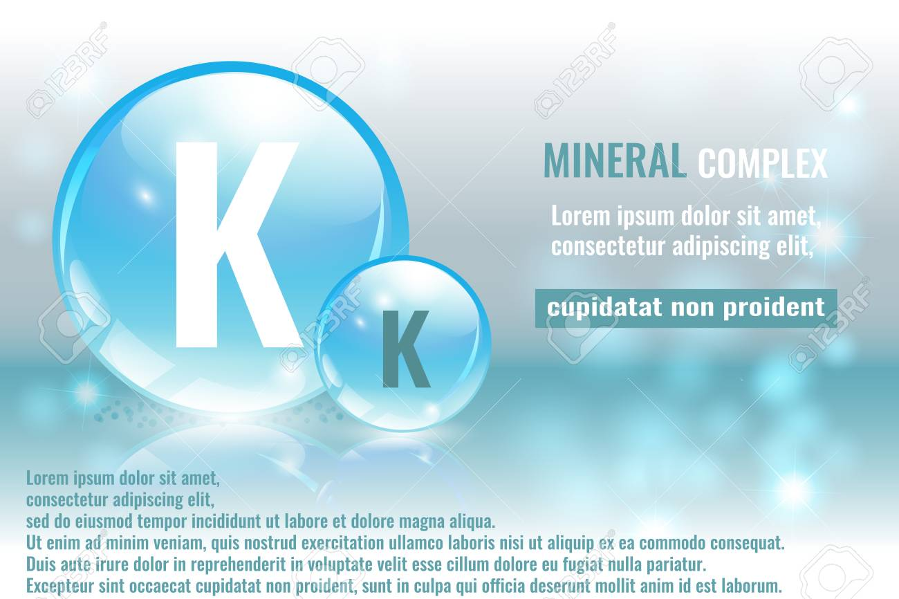 Mineral K Kalium Complex With Chemical Element Symbol Vector