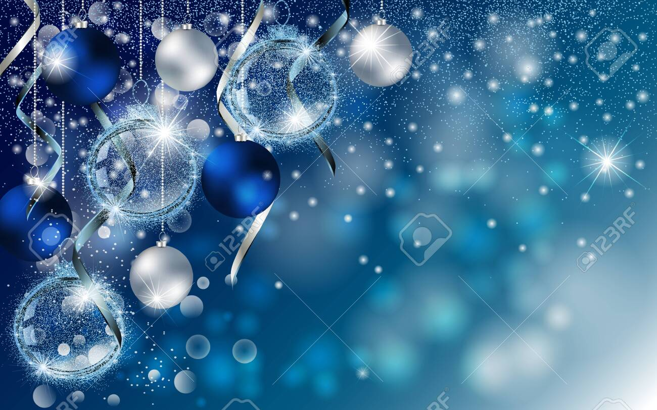Christmas blue banner with Stardust sparks and Christmas balls. Vector New Year design for greeting card, party invitation, holiday sales. - 145174484