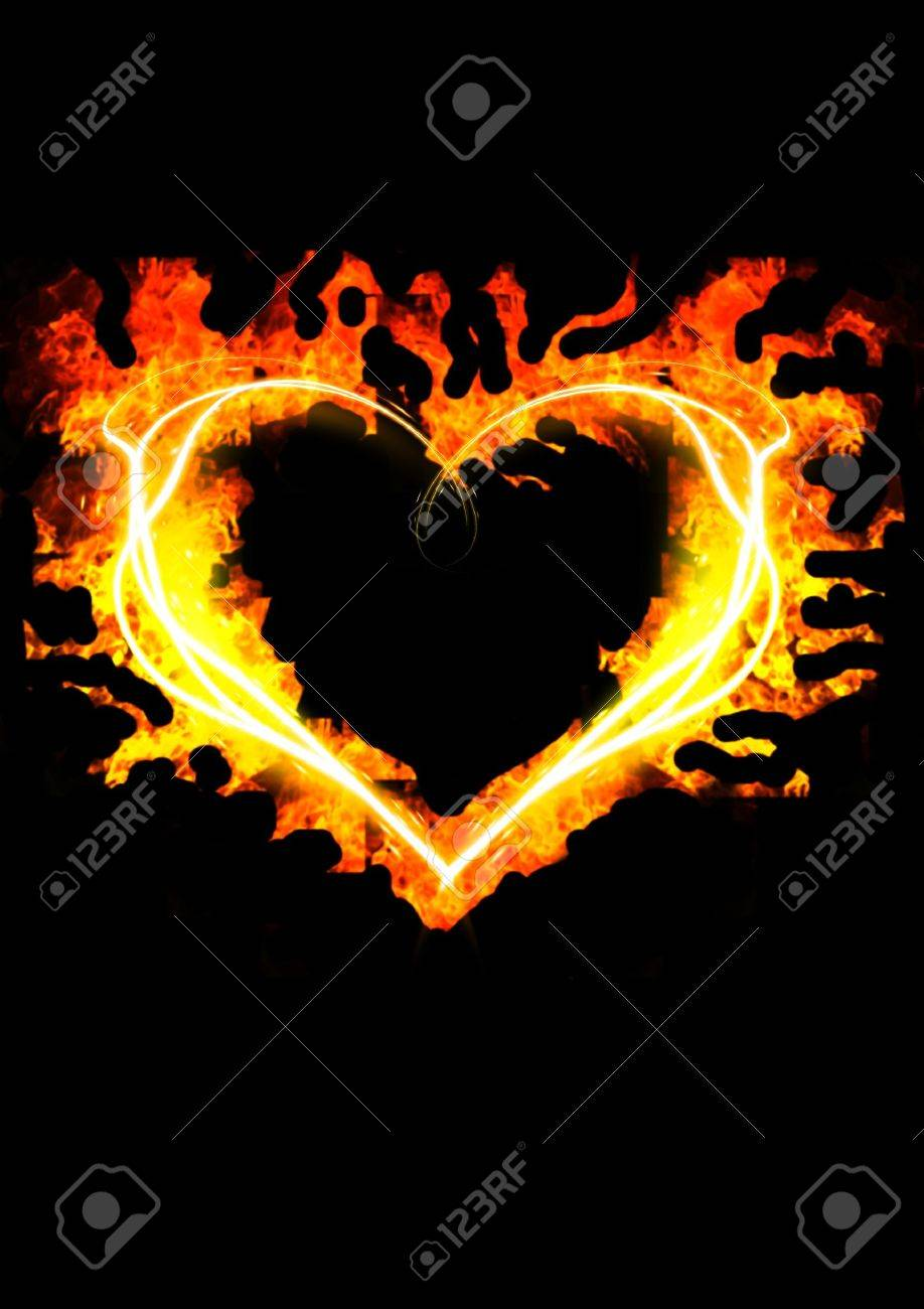 blazing heart  on the black background Stock Photo - 9157811