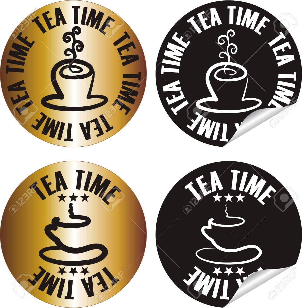vector tea time stamp set Stock Vector - 10998628