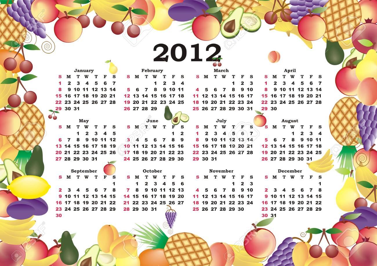 vector calendar 2012 in colorful frame Stock Vector - 11354941