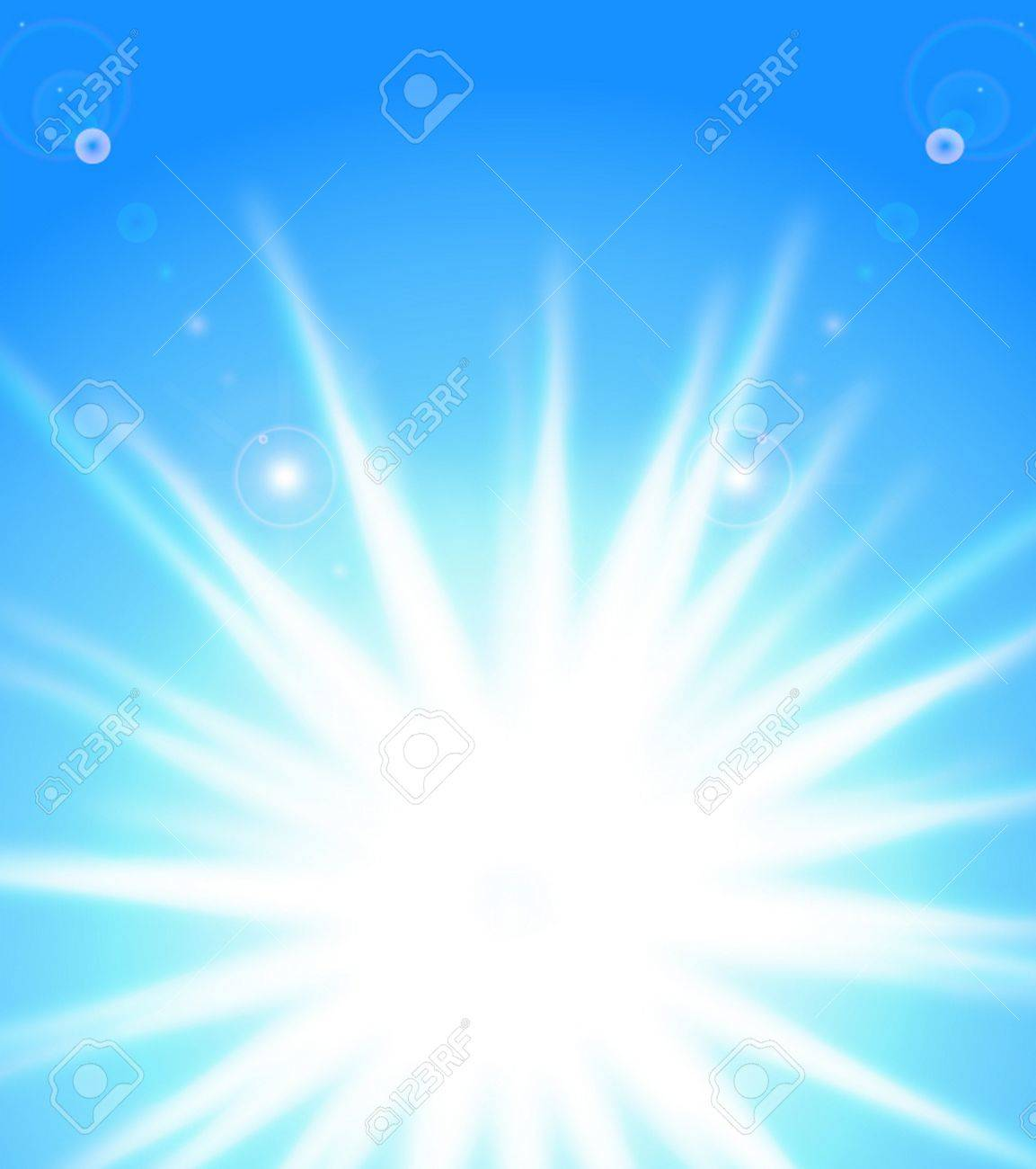Vector sun on blue sky with lenses flare, eps10 Stock Vector - 12251441