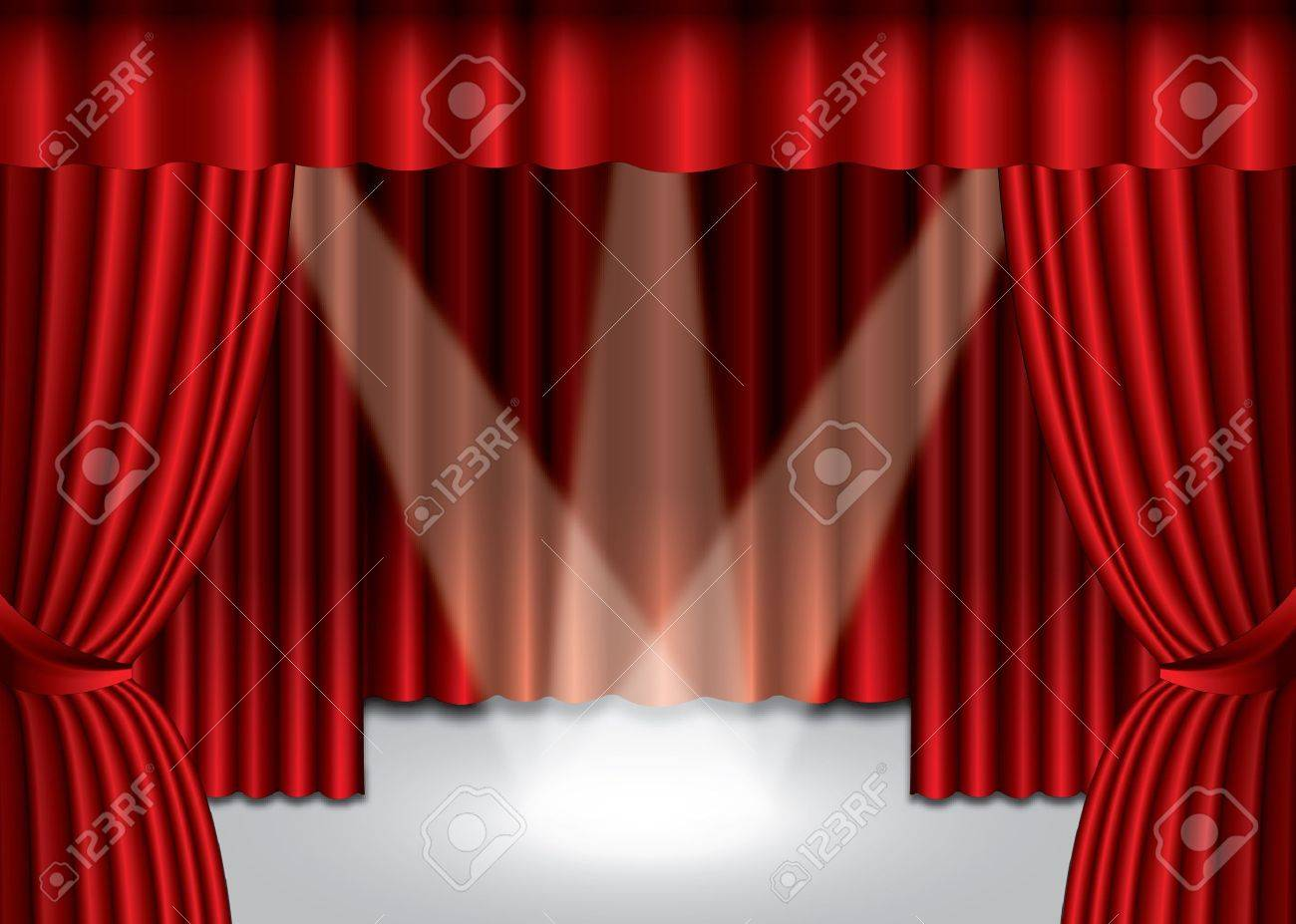 Stage curtains spotlight - Red Theater Curtain With Spotlight On Stage Stock Vector 15702976