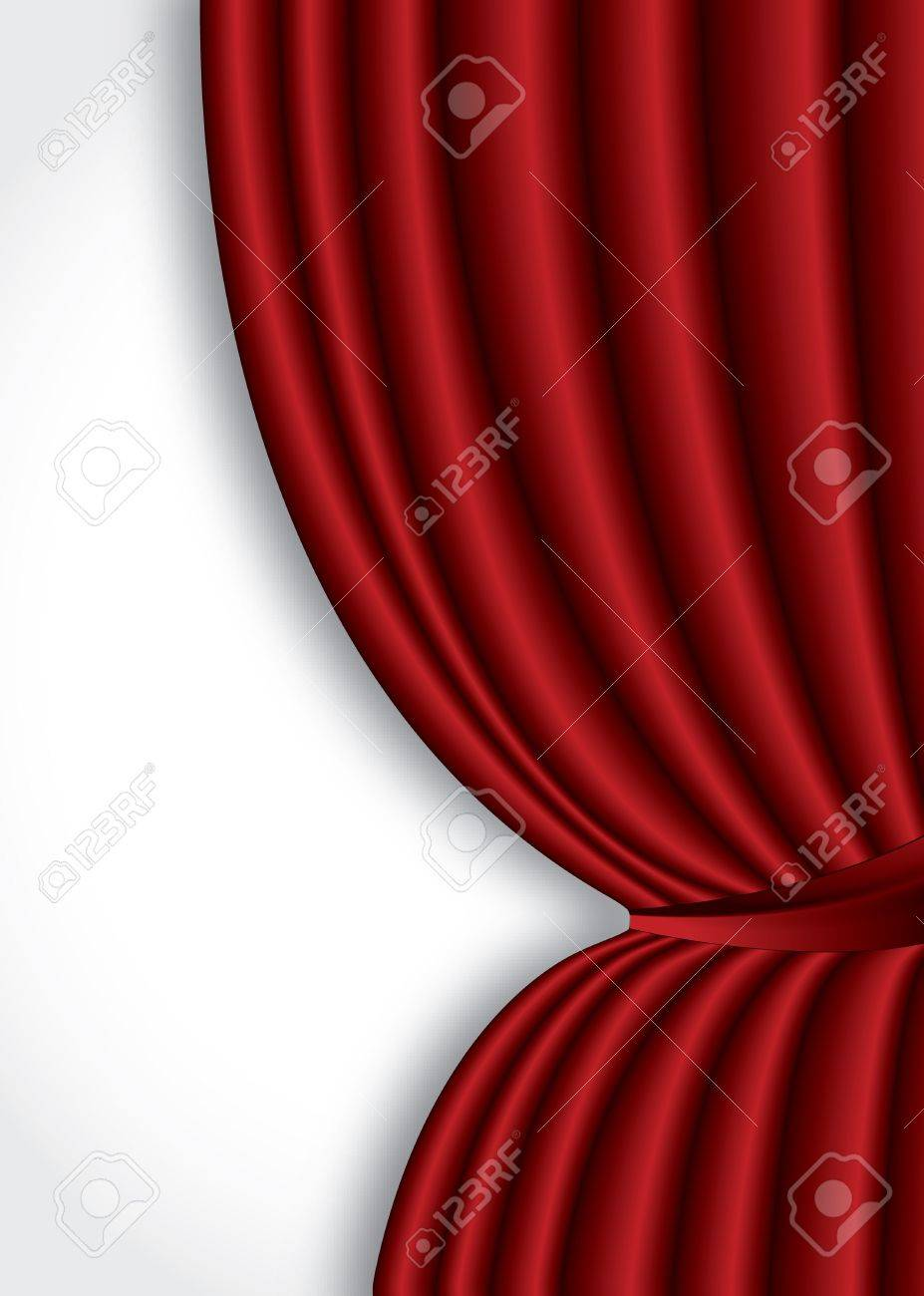 Red theater silk curtain background with wave Stock Vector - 15702592
