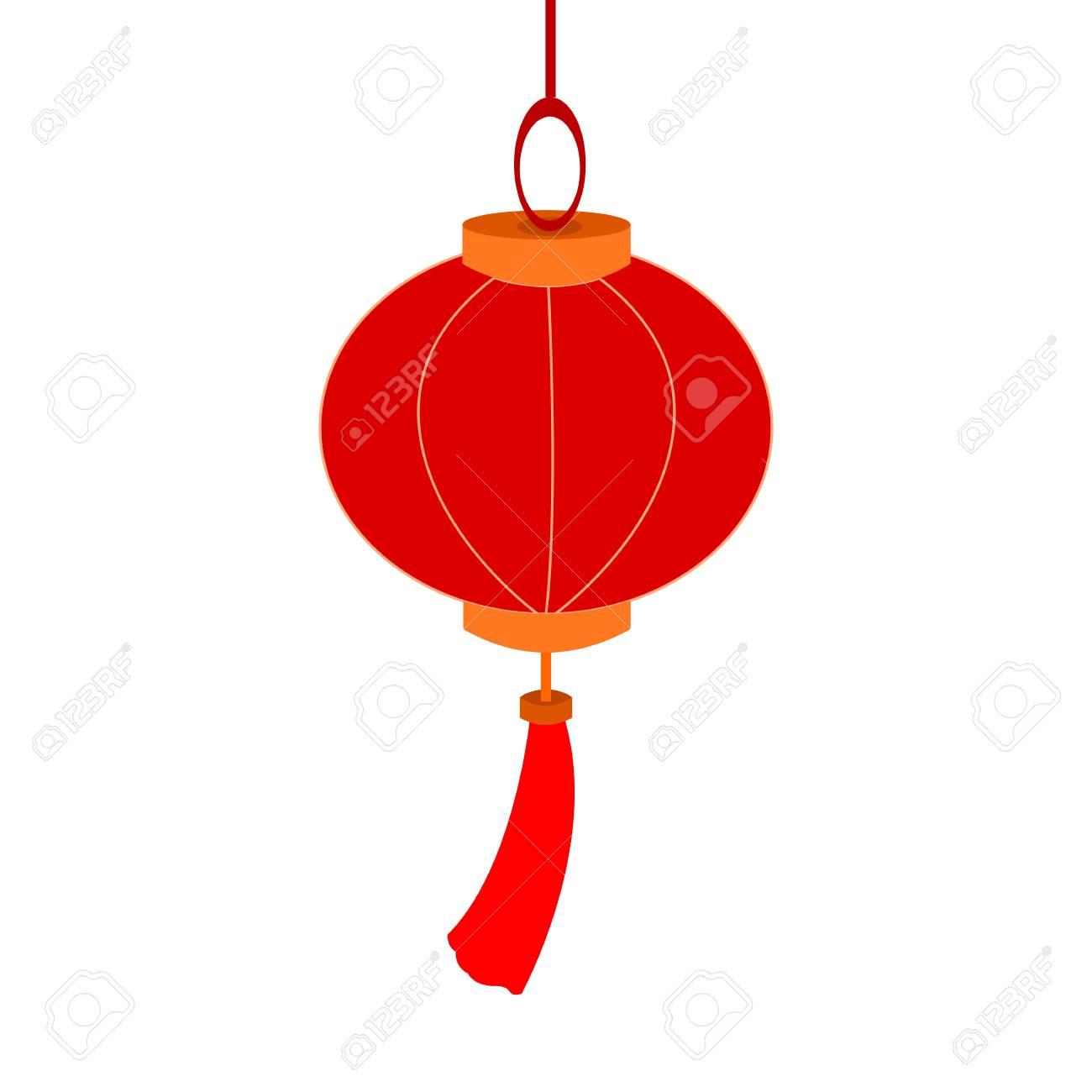 hanging decoration chinese lantern paper vector illustration